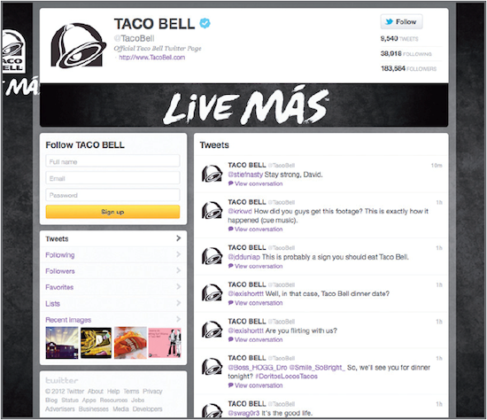 Taco Bell frequently engages in fun banter