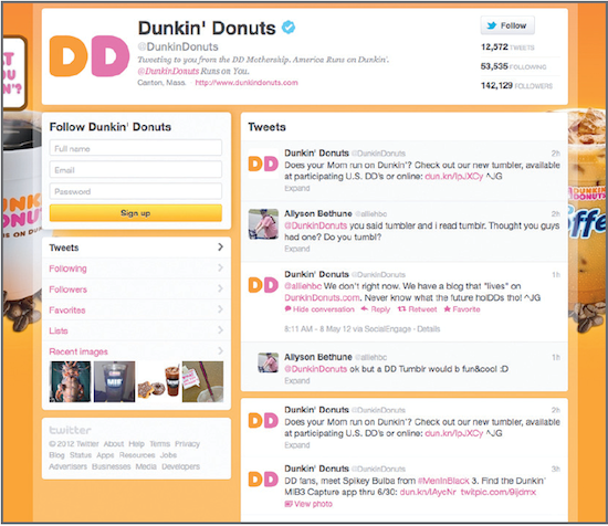 Dunkin' Donuts keeps its page colourful and inviting