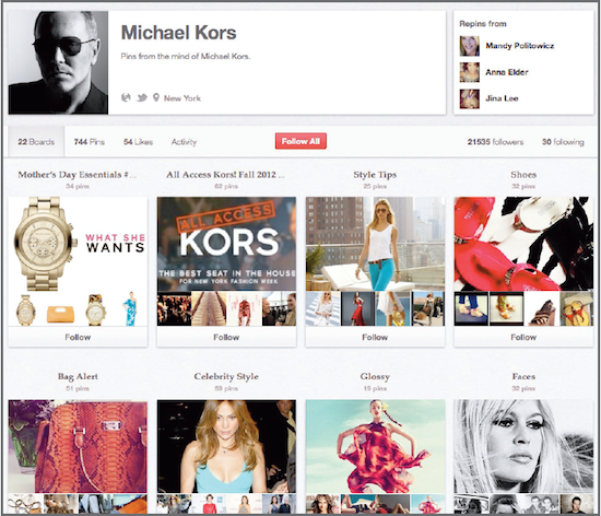 Michael Kors uses Pinterest for trends forecasting