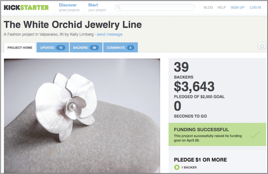 Kickstart: White Orchid jewellery is funded successfully