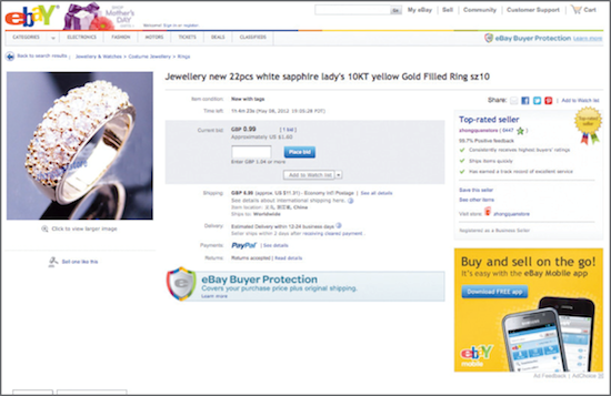 eBay: Build your credibility and sell jewellery to other users