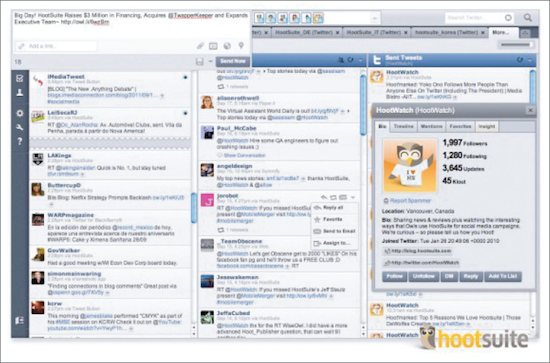 Hootsuite: Your home interface can be customised with widgets