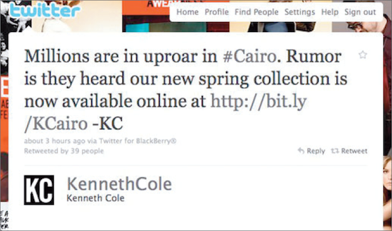 Kenneth Cole's questionable Twitter update
