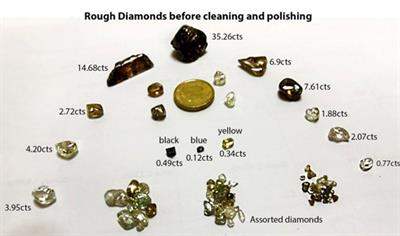 Rough brown and white diamonds found at the site