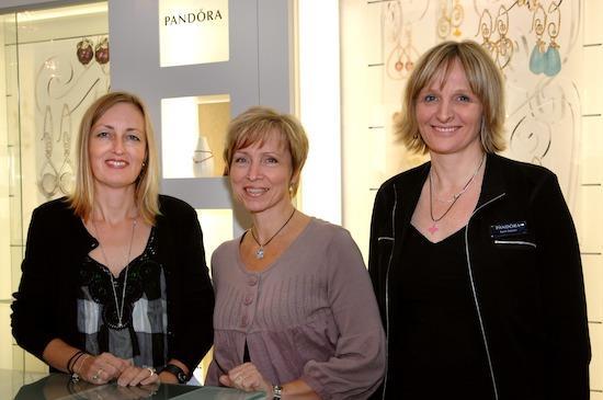 Adcock far right with Pandora designers, Lone Frandsen (left) and Lisbeth Enø Larsen (middle)