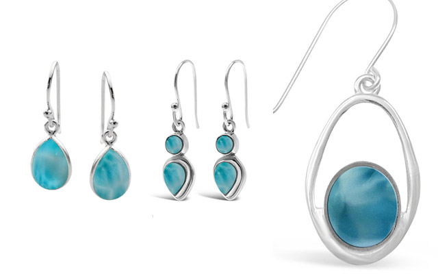 Stones & Silver's larimar drop earrings