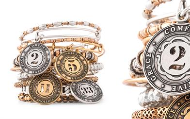 A selection of bangles from Alex and Ani's Numerology collection