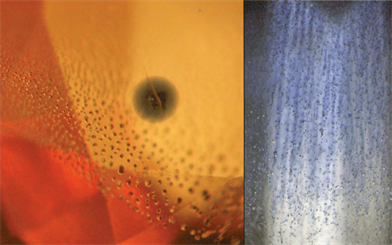 Figure 1. Natural, BeHT sapphire.  Figure 2. Synthetic, flame fusion sapphire