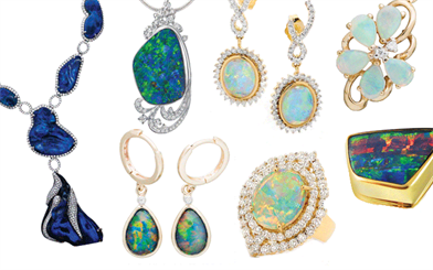 A selection of pieces from Australian Opal Exhibition, DF Opals, Opals Australia and Paterson Fine Jewellery