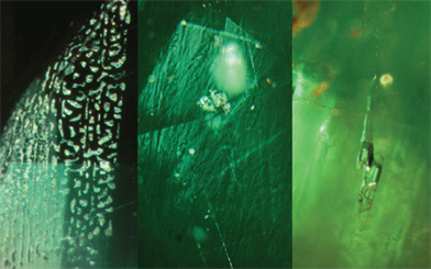 Figure 1 (left). Synthetic flux emerald. Figure 2 (centre). Hydrothermal emerald. Figure 3 (right). Natural emerald