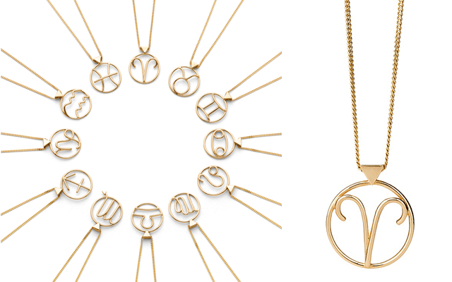 Karen Walker's Zodiac collection, with a close-up of the Aries pendant