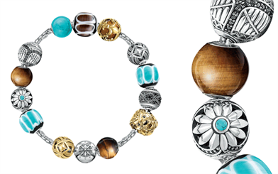 A selection of Thomas Sabo's Karma beads on a chain bracelet