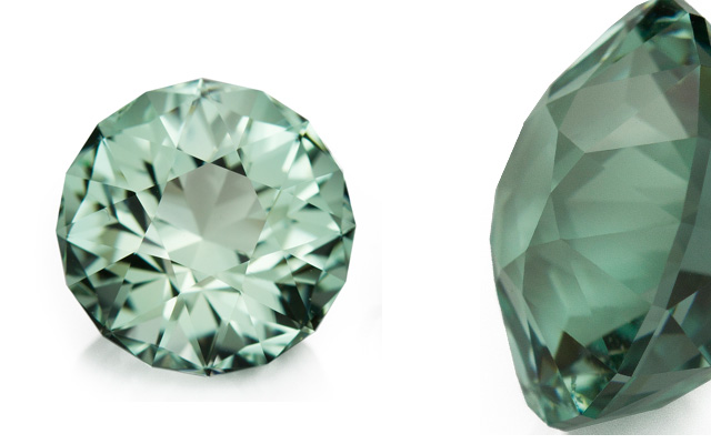 Bespoke Gems' antique round-cut seafoam-green aquamarines