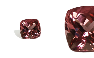 Sovereign Gems' cushion-cut pink-peach tourmaline
