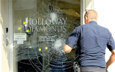 Security undoubtedly prevented a daylight robbery from taking place at a Holloway Diamonds store in Melbourne. Image courtesy: <em>Herald Sun</em>