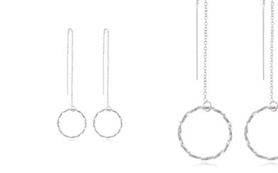 Stones & Silver's thread through earrings with circle