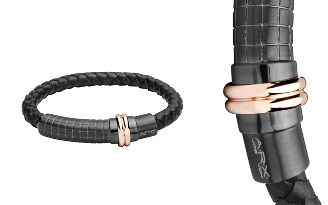 The Russell Collection's leather and stainless steel bracelet