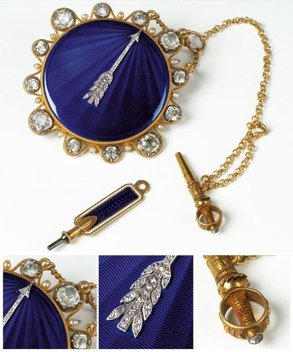 Abraham-Louis BRÉGUET Swiss 1747–1823 Touch watch belonging to Jérôme Bonaparte, King of Westphalia 1809 gold, diamonds, pearls, enamel 5.5 cm diameter.