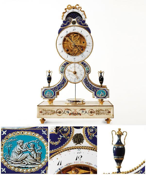 Joseph COTEAU (enameller) French 1740–1801 Skeleton clock c.1793-95 gilt and enamelled bronze (chased), marble 43.0 x 26.0 x 14.0 cm