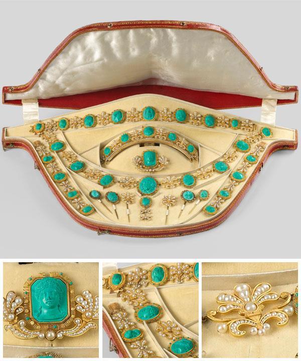 NITOT ET FILS, Paris (attributed to) (manufacturer) France 1780–1814 Malachite parure (Parure en malachite) Empire period 1804–15 gold, malachite, pearls.