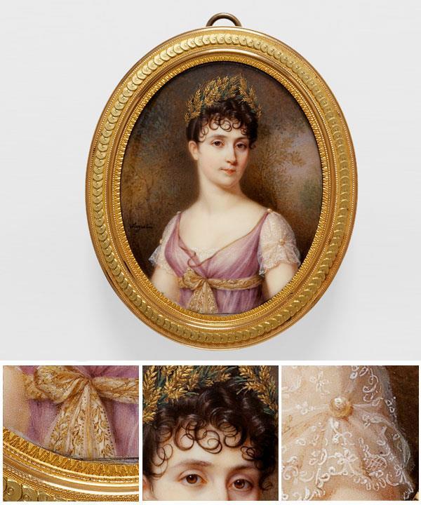 Jean-Baptiste-Jacques AUGUSTIN French 1759–1832 Portrait of Empress Josephine (Portrait de l'impératrice Joséphine) Empire period 1804–15 watercolour and gouache on ivory 6.7 x 5.4 cm.