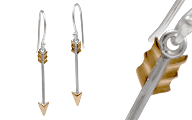 Blue Turtle's sterling silver and bronze Arrow earrings
