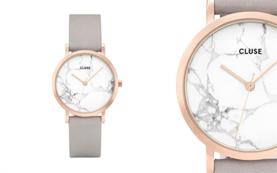 Cluse's La Roche Petite rose gold/white marble watch