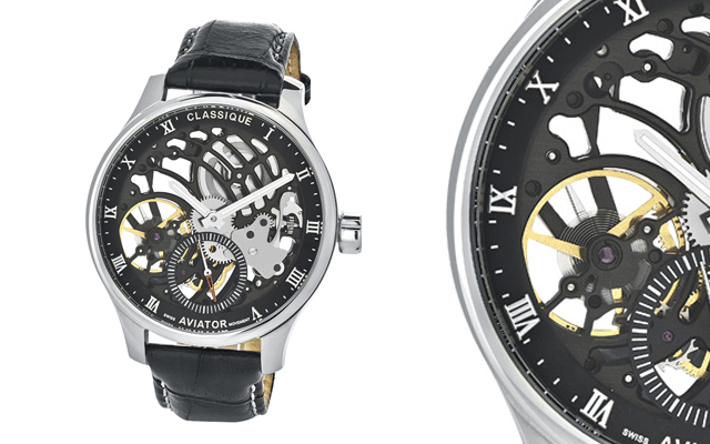 Classique's Aviator watch with skeleton movement
