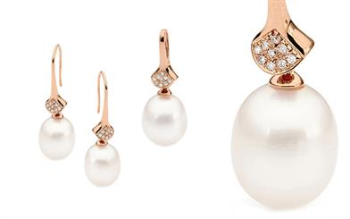 Ikecho Pearls' rose gold earrings