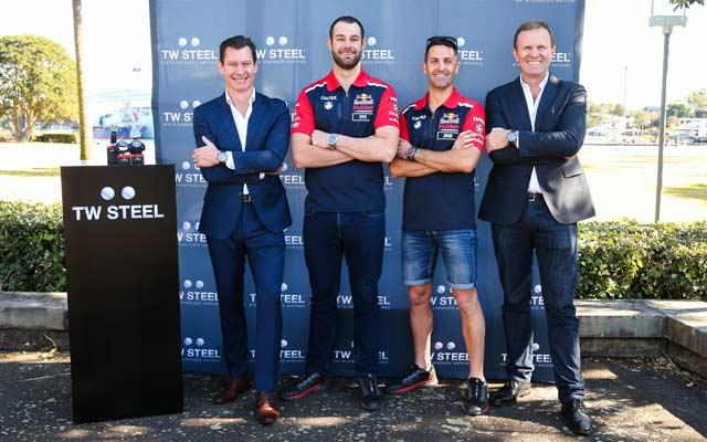 (L-R) DGA general manager Scott Patchett, racing driver Shane Van Gisbergen, racing driver Jamie Whincup and DGA managing director Phil Edwards