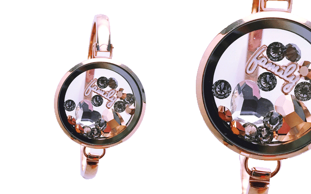 Love Lockets' rose gold-plated wristlet with charms