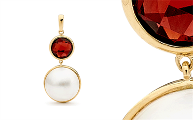 Ikecho Pearls' Mabe pearl and garnet pendant