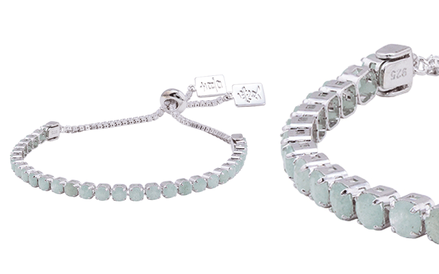 Ouma Chain's natural jade and cubic zirconia bracelet