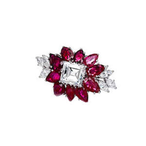 A pear-shaped ruby and marquise-shaped diamond brooch sold for US$46,000 (AU$57,770)