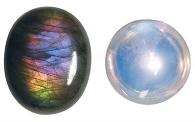 Spectrolite (Left) Rainbow Moonstone (Right). Image courtesy: Greg C Grace