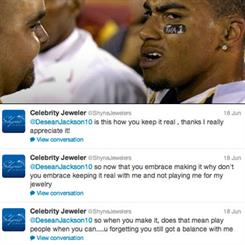 Footballer DeSean Jackson's Twitter boast about his salary backfired when a jeweller replied