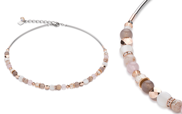 Coeur de Lion's mother-of-pearl, crystal and gemstone necklace
