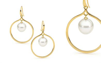 Allure South Sea Pearls' hoop style hook earrings.