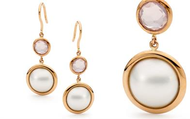 Ikecho Pearls' Mabe pearl and rose quartz hook earrings