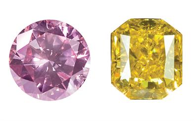 Image courtesy Greg C Grace | Figure 1. Australian argyle pink diamond | Figure 2. Brilliant cut fancy vivid yelow diamond