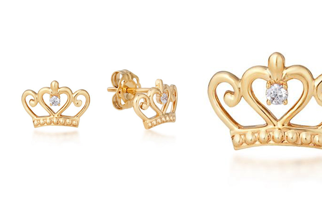 Couture Kingdom's Disney Precious Metal Princess Crown Stud Earrings