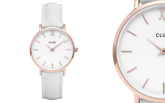 Cluse's Minuit Rose Gold White Watch
