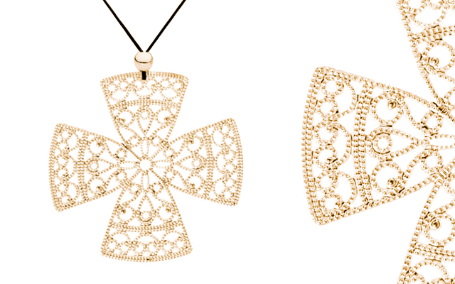 Fabuleux Vous' Lacey Yellow Gold Cross Necklace