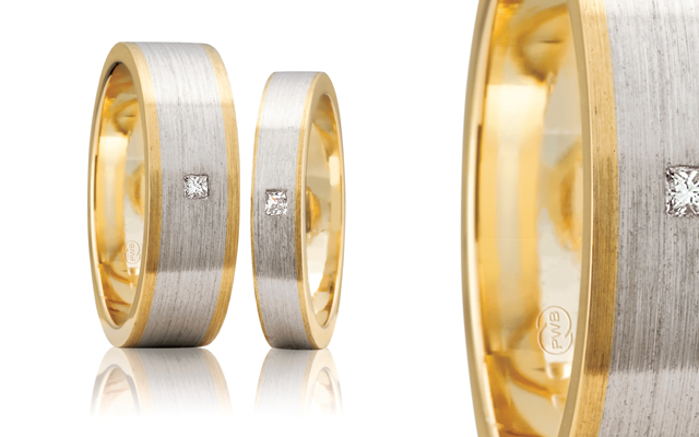 Peter W Beck's two-tone matched wedding rings