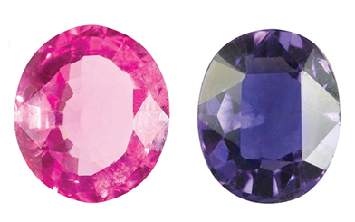 Image courtesy Greg C Grace | Pink spinel (Left) | Purple spinel (Right)