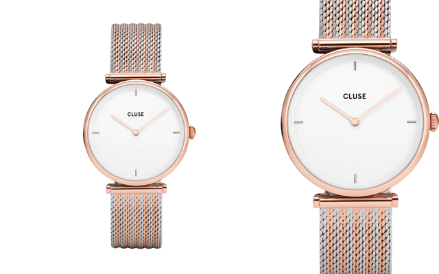 Cluse with rose gold and silver mesh strap and rose gold details