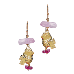 Misani gold earrings with kunzite and ruby gemstones