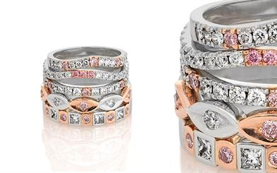 Ellendale Diamonds Australia 18-carat rose and white gold stackable rings