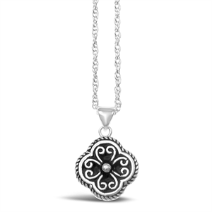 Stones & Silver flower-shaped black enamel necklace