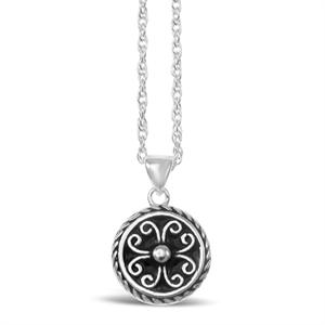 Stones & Silver round-shaped black enamel necklace
